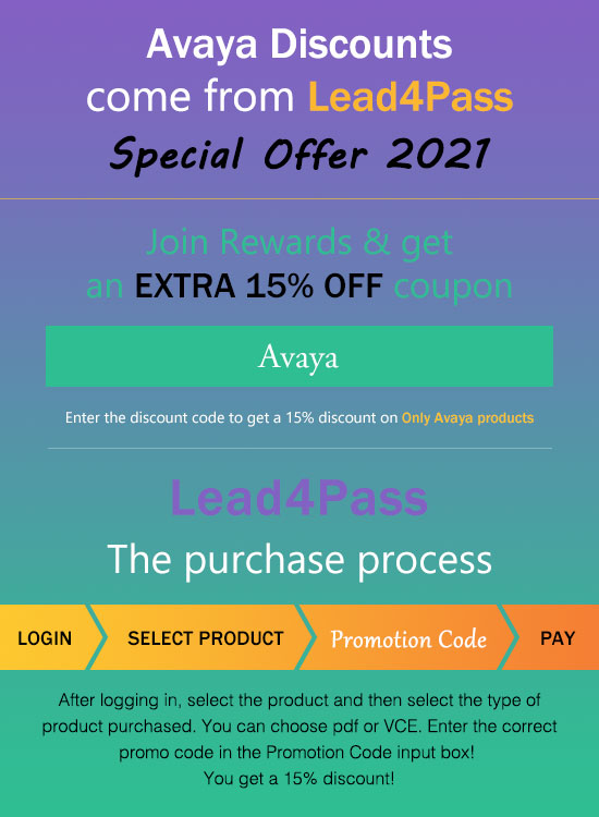 Lead4Pass Avaya Discount Code 2021