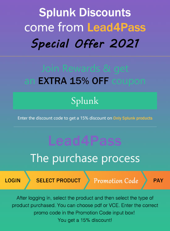Lead4Pass Splunk Discount Code 2021
